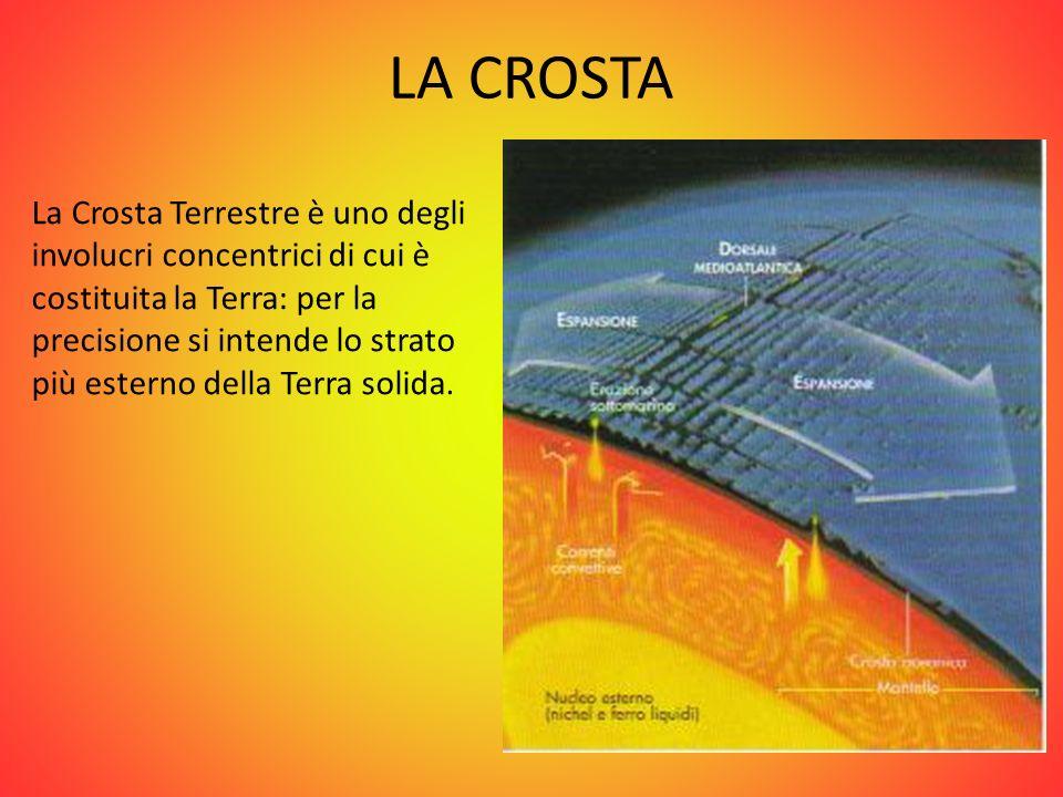LA CROSTA La Crosta Terrestre è uno degli involucri concentrici di cui è costituita la Terra: per la precisione si intende lo strato più esterno della
