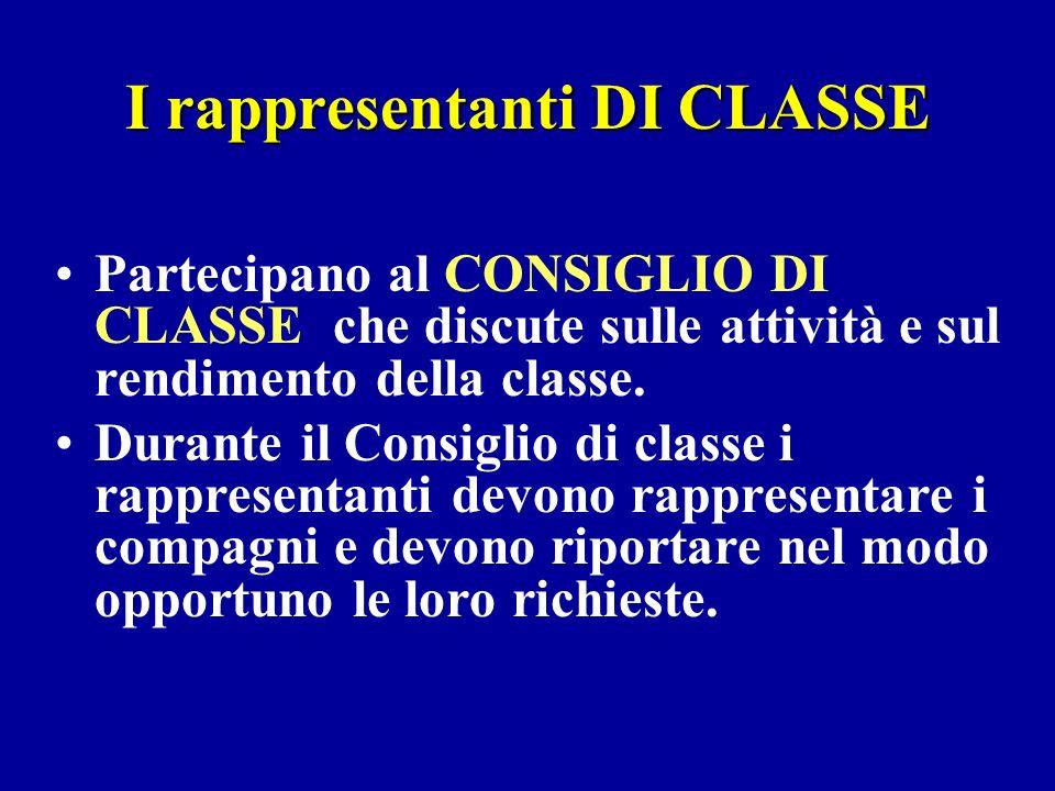 I rappresentanti DI CLASSE Partecipano al CONSIGLIO DI CLASSE che discute sulle attività e sul rendimento della classe. Durante il Consiglio di classe
