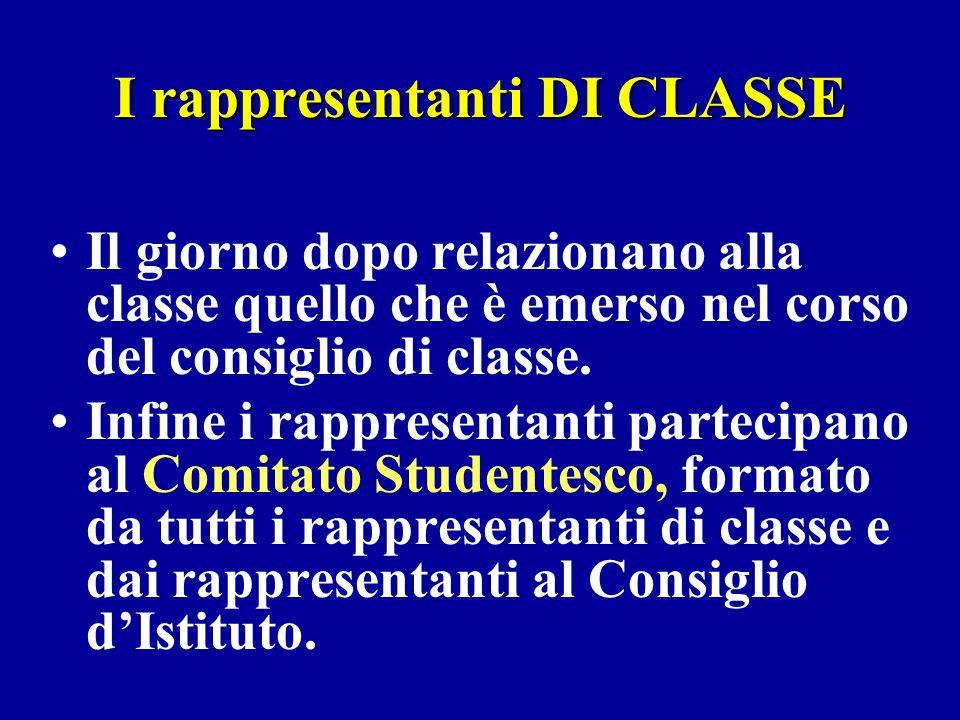 I rappresentanti DI CLASSE Il giorno dopo relazionano alla classe quello che è emerso nel corso del consiglio di classe.
