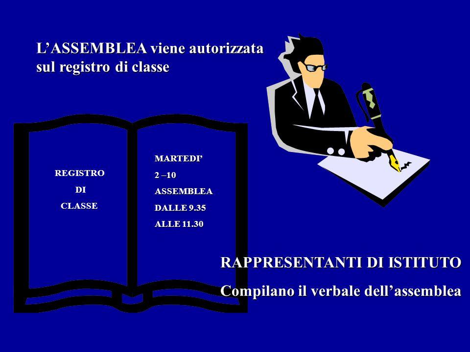 LASSEMBLEA viene autorizzata sul registro di classe REGISTRO DI CLASSE MARTEDI 2 –10 ASSEMBLEA DALLE 9.35 ALLE 11.30 RAPPRESENTANTI DI ISTITUTO Compil