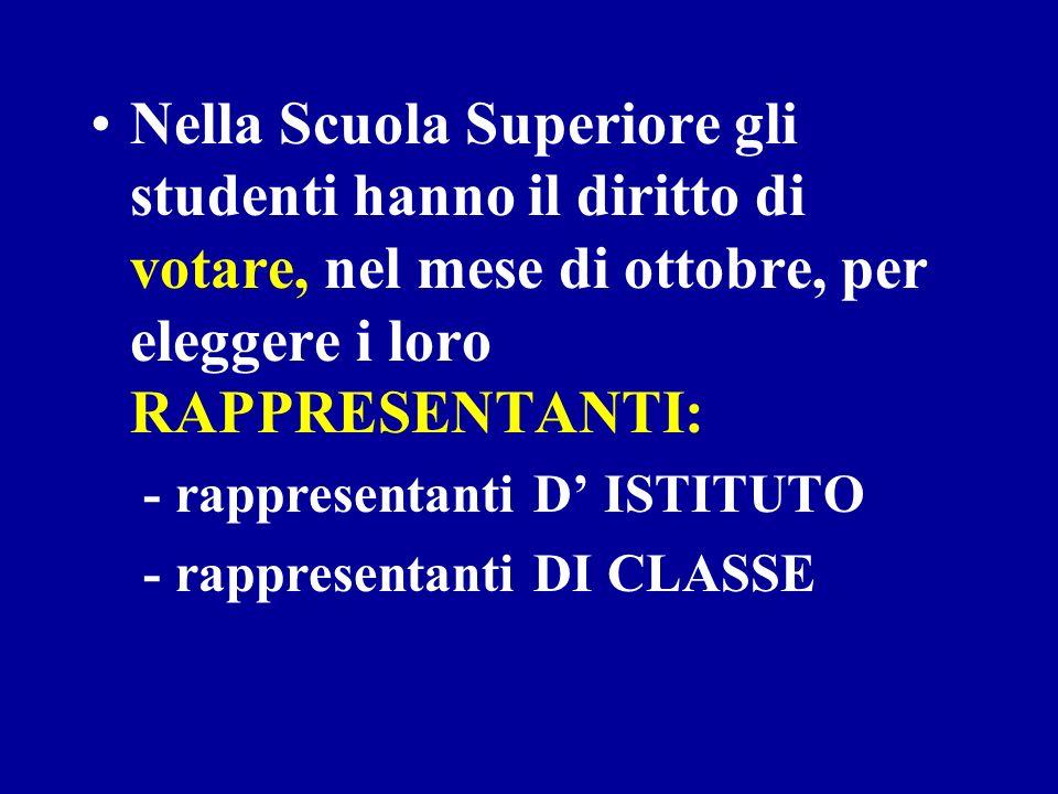 Nella Scuola Superiore gli studenti hanno il diritto di votare, nel mese di ottobre, per eleggere i loro RAPPRESENTANTI: - rappresentanti D ISTITUTO - rappresentanti DI CLASSE