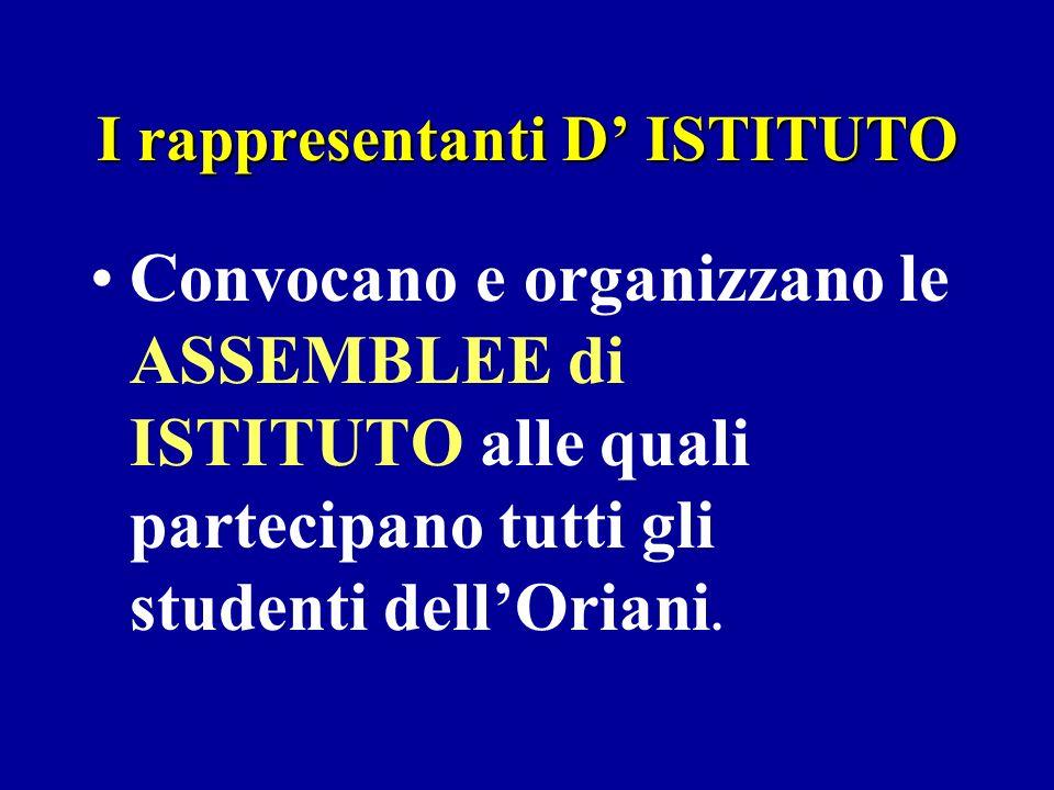 I rappresentanti D ISTITUTO Convocano e organizzano le ASSEMBLEE di ISTITUTO alle quali partecipano tutti gli studenti dellOriani.