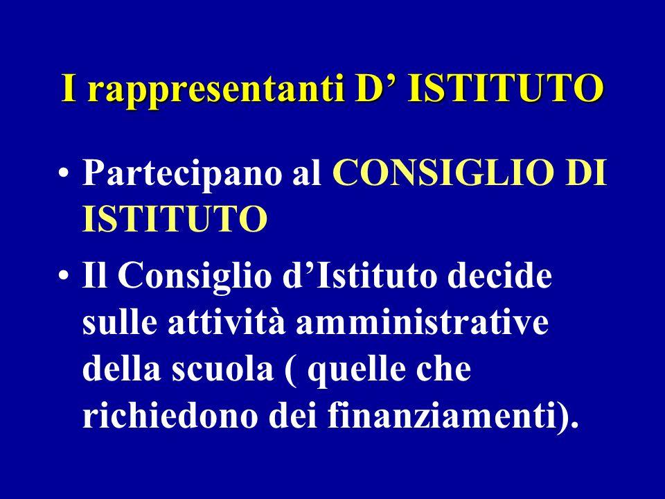 I rappresentanti D ISTITUTO Partecipano al CONSIGLIO DI ISTITUTO Il Consiglio dIstituto decide sulle attività amministrative della scuola ( quelle che richiedono dei finanziamenti).