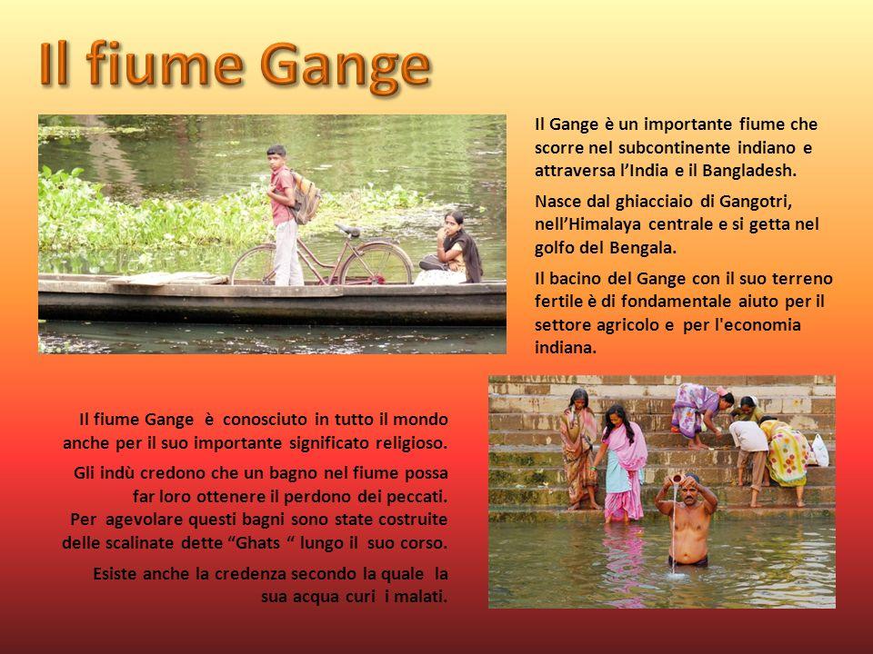 Il Gange è un importante fiume che scorre nel subcontinente indiano e attraversa lIndia e il Bangladesh. Nasce dal ghiacciaio di Gangotri, nellHimalay
