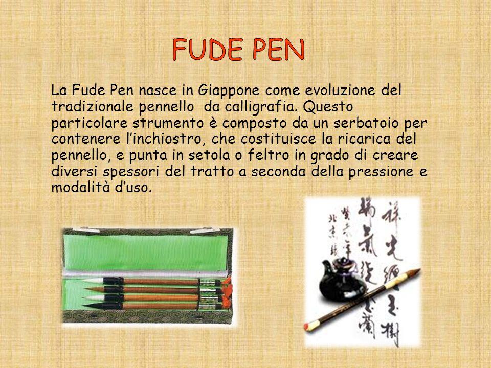 La Fude Pen nasce in Giappone come evoluzione del tradizionale pennello da calligrafia. Questo particolare strumento è composto da un serbatoio per co