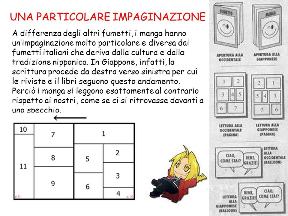 UNA PARTICOLARE IMPAGINAZIONE A differenza degli altri fumetti, i manga hanno unimpaginazione molto particolare e diversa dai fumetti italiani che der