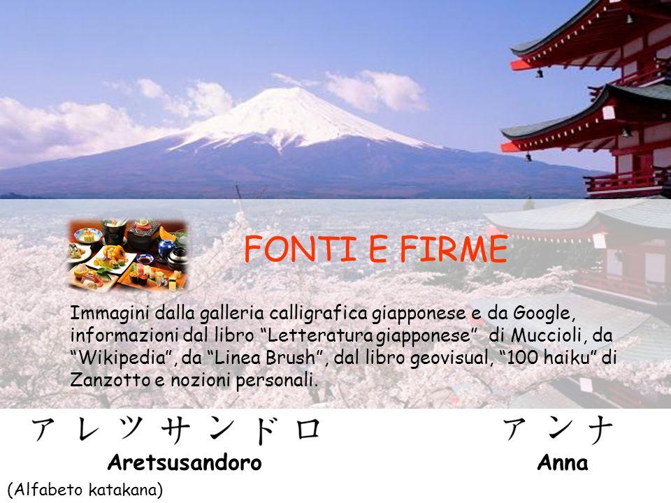 FONTI E FIRME Immagini dalla galleria calligrafica giapponese e da Google, informazioni dal libro Letteratura giapponese di Muccioli, da Wikipedia, da