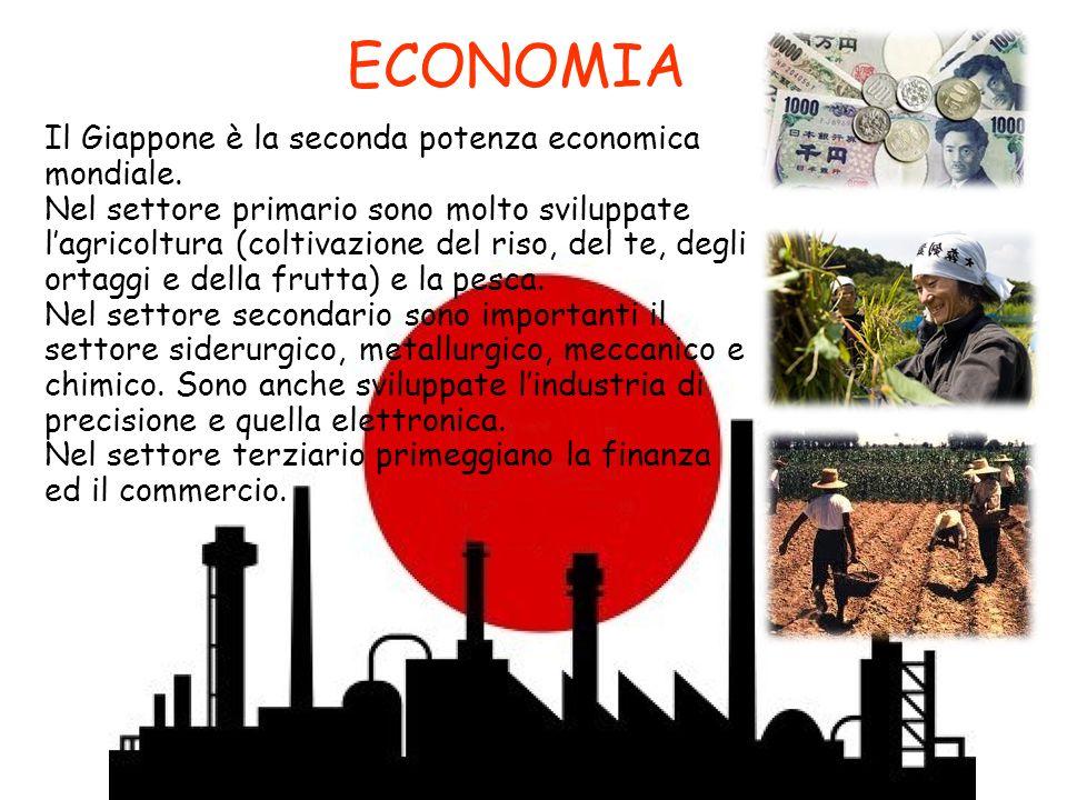 ECONOMIA Il Giappone è la seconda potenza economica mondiale. Nel settore primario sono molto sviluppate lagricoltura (coltivazione del riso, del te,
