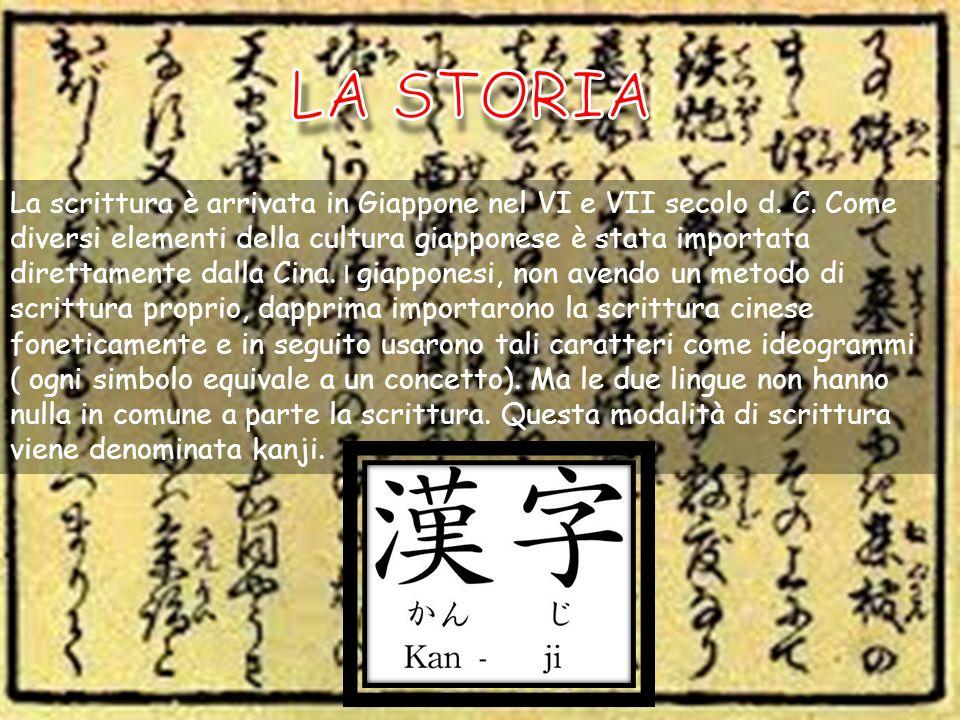 La scrittura è arrivata in Giappone nel VI e VII secolo d. C. Come diversi elementi della cultura giapponese è stata importata direttamente dalla Cina