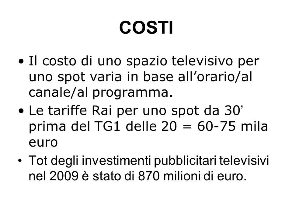COSTI Il costo di uno spazio televisivo per uno spot varia in base allorario/al canale/al programma. Le tariffe Rai per uno spot da 30 prima del TG1 d