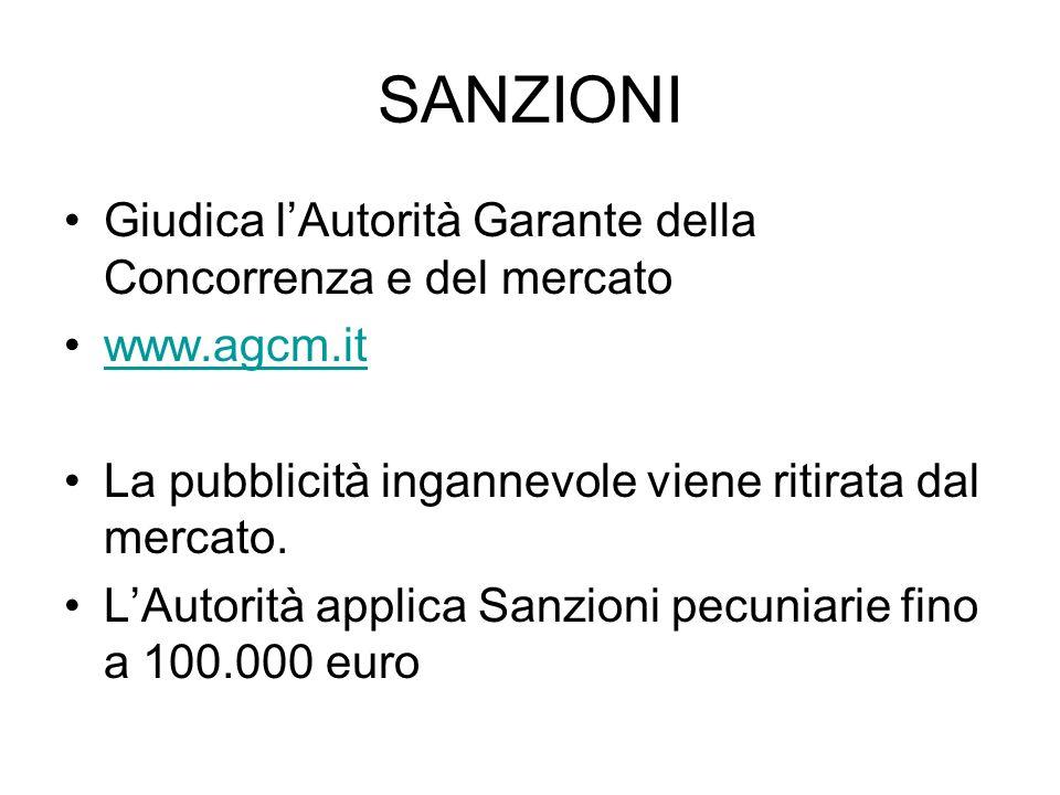 SANZIONI Giudica lAutorità Garante della Concorrenza e del mercato www.agcm.it La pubblicità ingannevole viene ritirata dal mercato. LAutorità applica