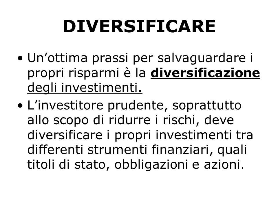 DIVERSIFICARE Unottima prassi per salvaguardare i propri risparmi è la diversificazione degli investimenti. Linvestitore prudente, soprattutto allo sc