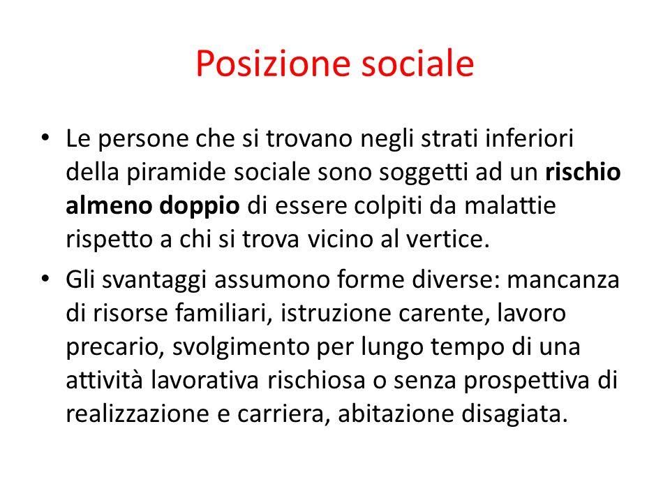 Posizione sociale Le persone che si trovano negli strati inferiori della piramide sociale sono soggetti ad un rischio almeno doppio di essere colpiti