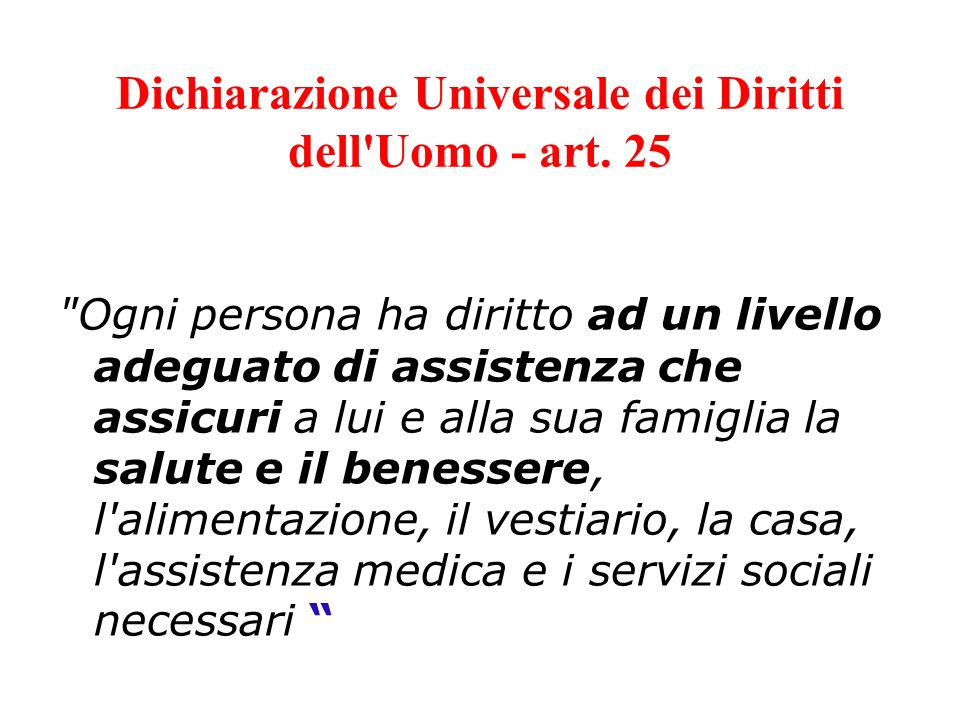 Dichiarazione Universale dei Diritti dell'Uomo - art. 25