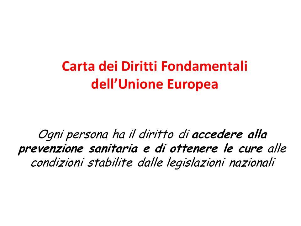 Carta dei Diritti Fondamentali dellUnione Europea Ogni persona ha il diritto di accedere alla prevenzione sanitaria e di ottenere le cure alle condizi