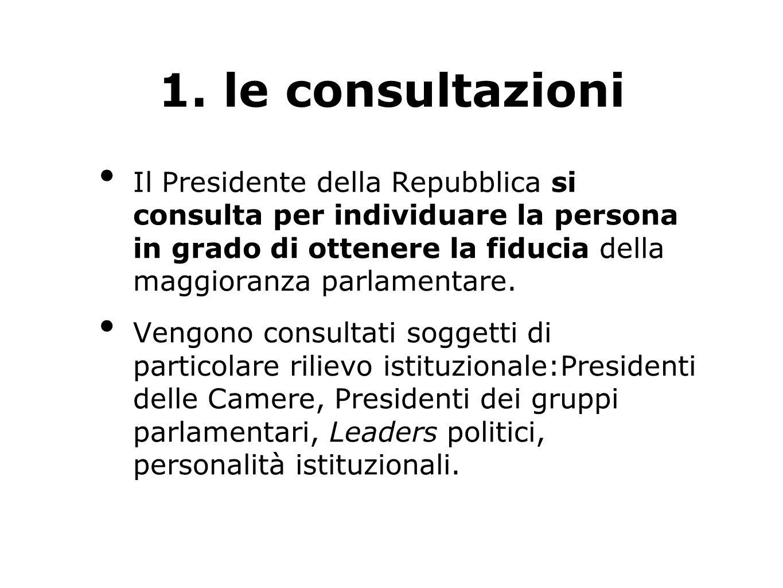 1. le consultazioni Il Presidente della Repubblica si consulta per individuare la persona in grado di ottenere la fiducia della maggioranza parlamenta