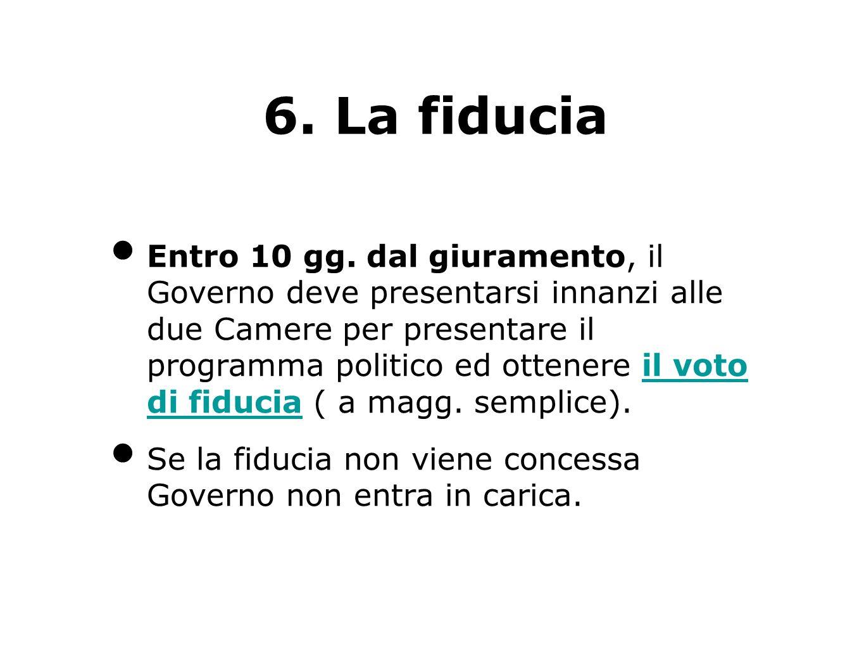6. La fiducia Entro 10 gg. dal giuramento, il Governo deve presentarsi innanzi alle due Camere per presentare il programma politico ed ottenere il vot
