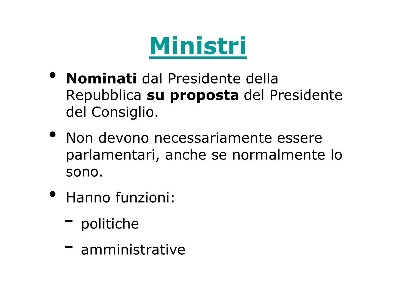 Ministri Nominati dal Presidente della Repubblica su proposta del Presidente del Consiglio. Non devono necessariamente essere parlamentari, anche se n