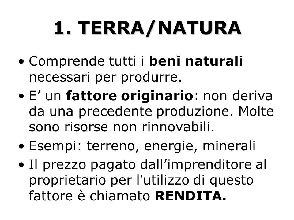 1. TERRA/NATURA Comprende tutti i beni naturali necessari per produrre. E un fattore originario: non deriva da una precedente produzione. Molte sono r