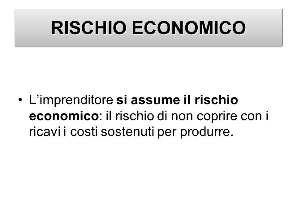 RISCHIO ECONOMICO Limprenditore si assume il rischio economico: il rischio di non coprire con i ricavi i costi sostenuti per produrre.