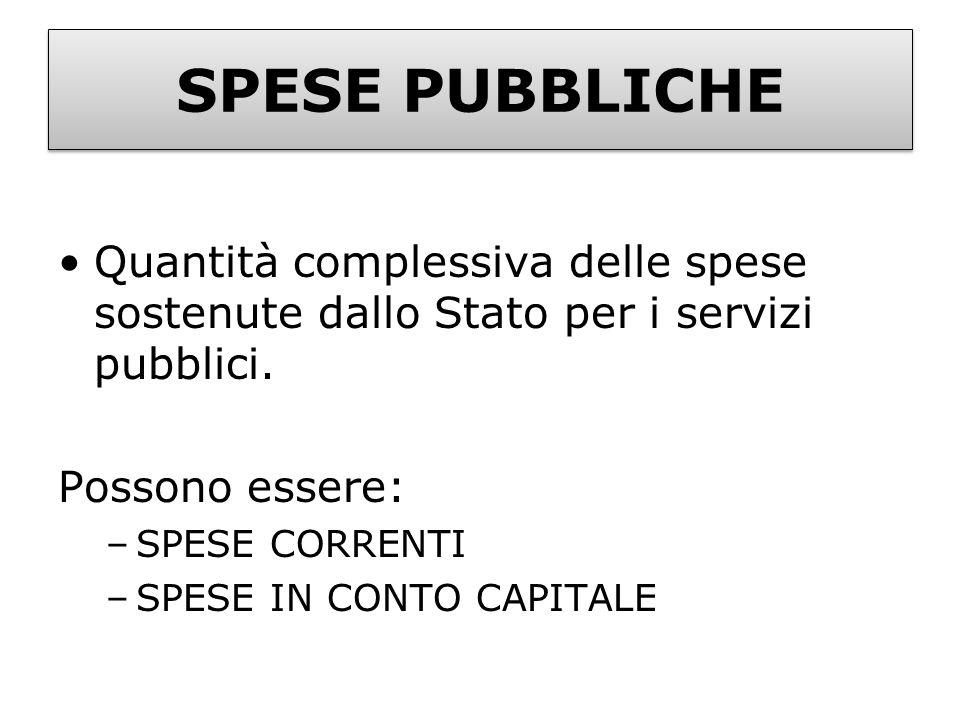 SPESE PUBBLICHE Quantità complessiva delle spese sostenute dallo Stato per i servizi pubblici. Possono essere: –SPESE CORRENTI –SPESE IN CONTO CAPITAL