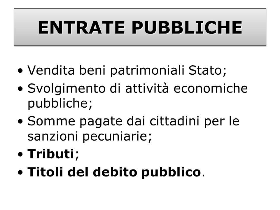 ENTRATE PUBBLICHE Vendita beni patrimoniali Stato; Svolgimento di attività economiche pubbliche; Somme pagate dai cittadini per le sanzioni pecuniarie