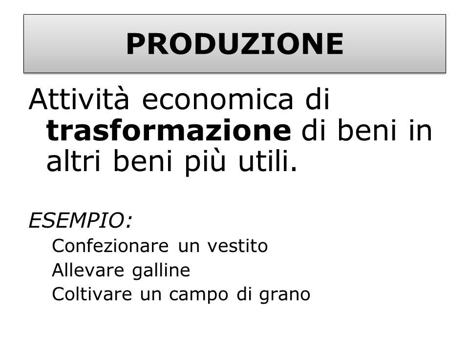 PRODUZIONE Attività economica di trasformazione di beni in altri beni più utili. ESEMPIO: Confezionare un vestito Allevare galline Coltivare un campo