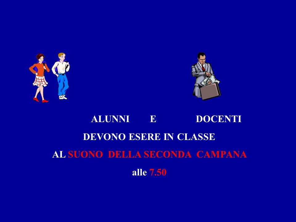 ALUNNI E DOCENTI DEVONO ESERE IN CLASSE AL SUONO DELLA SECONDA CAMPANA alle 7.50