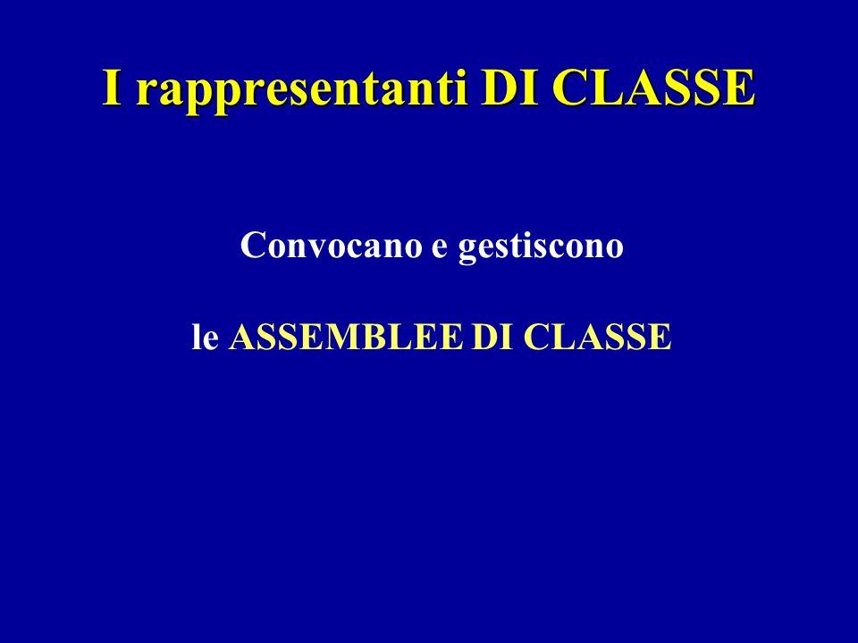 I rappresentanti DI CLASSE Convocano e gestiscono le ASSEMBLEE DI CLASSE