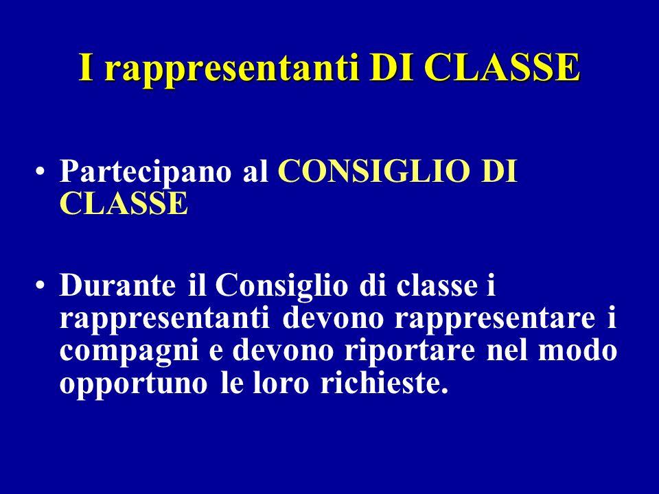 I rappresentanti DI CLASSE Partecipano al CONSIGLIO DI CLASSE Durante il Consiglio di classe i rappresentanti devono rappresentare i compagni e devono