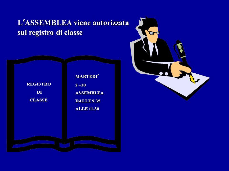 LASSEMBLEA viene autorizzata sul registro di classe REGISTRO DI CLASSE MARTEDI 2 –10 ASSEMBLEA DALLE 9.35 ALLE 11.30