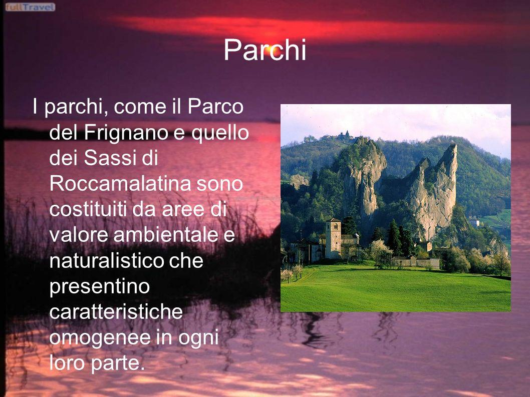 Parchi I parchi, come il Parco del Frignano e quello dei Sassi di Roccamalatina sono costituiti da aree di valore ambientale e naturalistico che presentino caratteristiche omogenee in ogni loro parte.