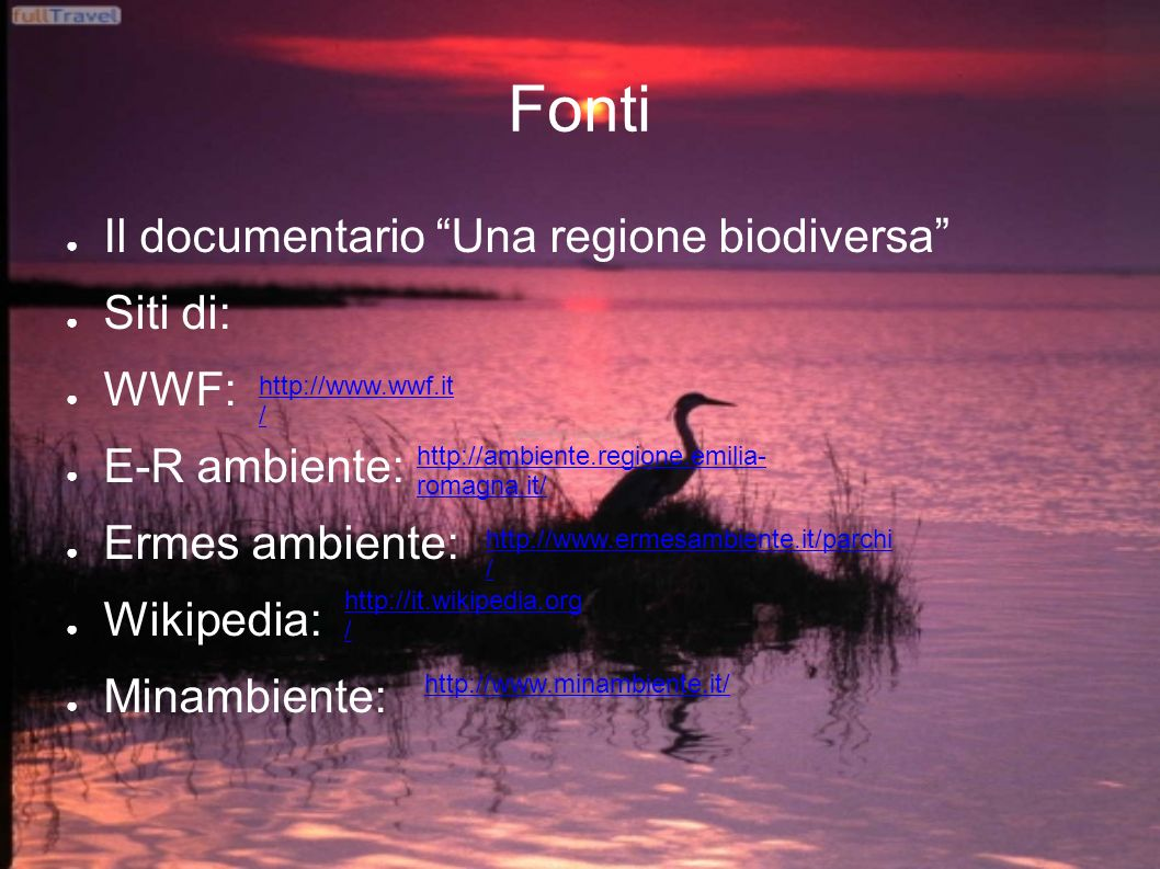 Fonti Il documentario Una regione biodiversa Siti di: WWF: E-R ambiente: Ermes ambiente: Wikipedia: Minambiente: http://www.ermesambiente.it/parchi / http://ambiente.regione.emilia- romagna.it/ http://www.wwf.it / http://www.minambiente.it/ http://it.wikipedia.org /