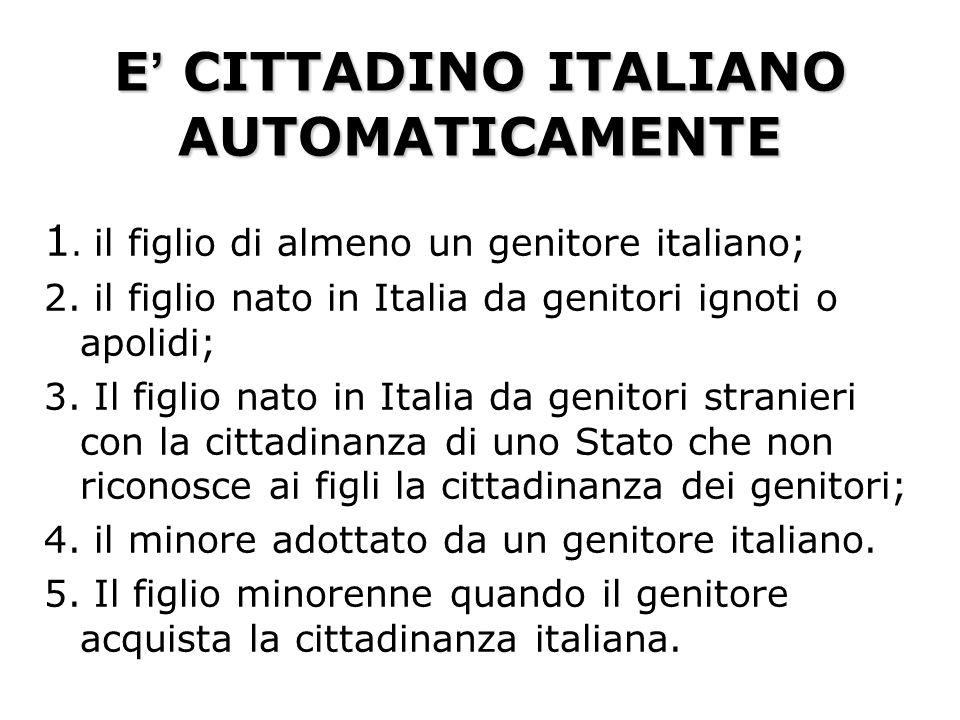 LA CITTADINANZA IN ITALIA LA CITTADINANZA IN ITALIA Si acquista AUTOMATICAMENTE PER NASCITA PER ACQUISTO SUCCESSIVO