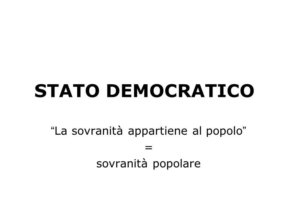 FORME DI STATO In base al diverso rapporto che si realizza tra Sovranità (chi governa) e popolo (chi è governato) si distinguono: STATI DEMOCRATICI ST