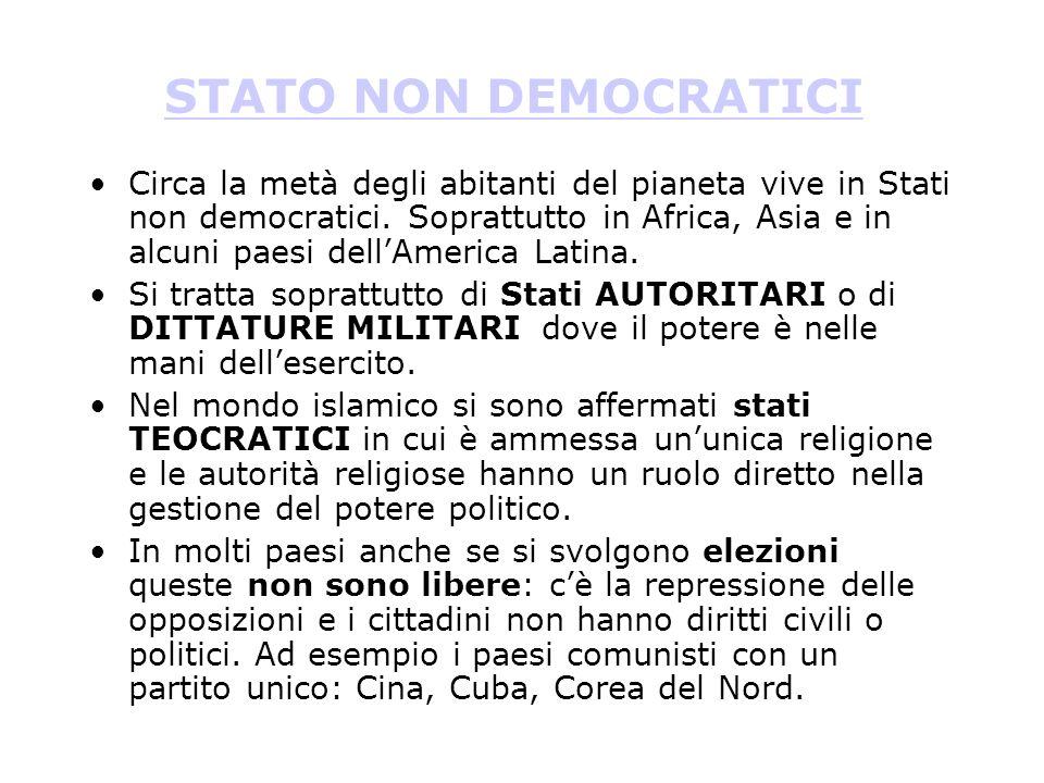 STATI DEMOCRATICI Il numero degli Stati democratici è aumentato negli anni, soprattutto dopo il crollo dei regimi comunisti in Europa e alla caduta de