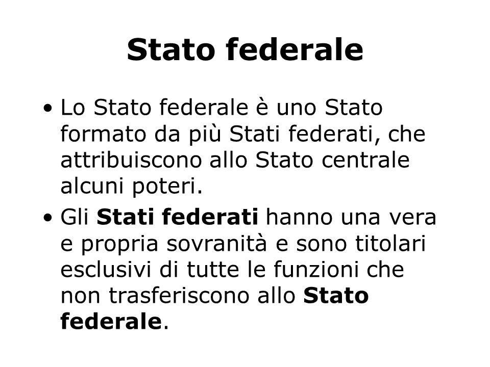Stato unitario Nello Stato Unitario l'attività di governo è esercitata in modo esclusivo da organi centrali, con competenza sul tutto il territorio na