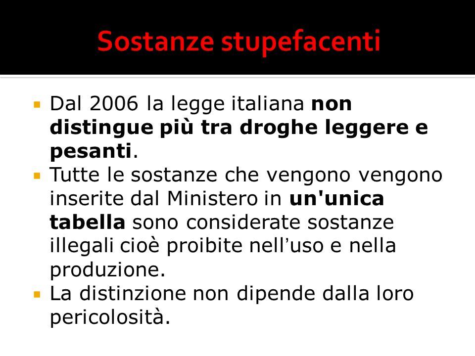 Dal 2006 la legge italiana non distingue più tra droghe leggere e pesanti. Tutte le sostanze che vengono vengono inserite dal Ministero in un'unica ta