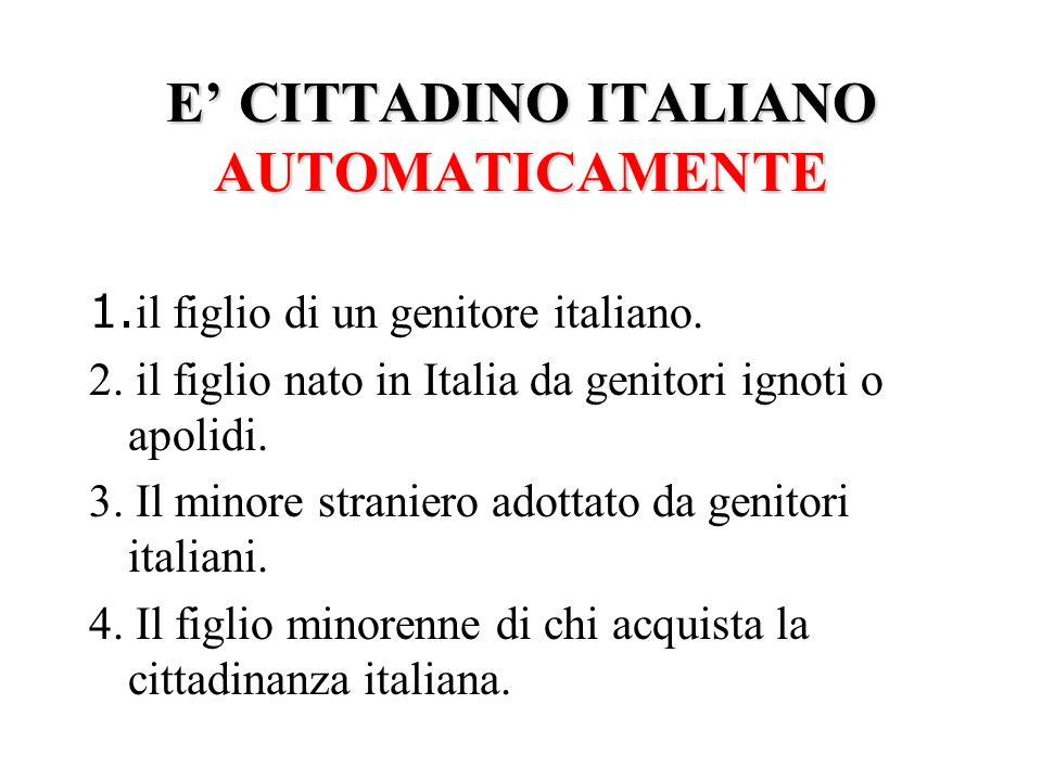 LA CITTADINANZA IN ITALIA AUTOMATICAMENTESU RICHIESTA