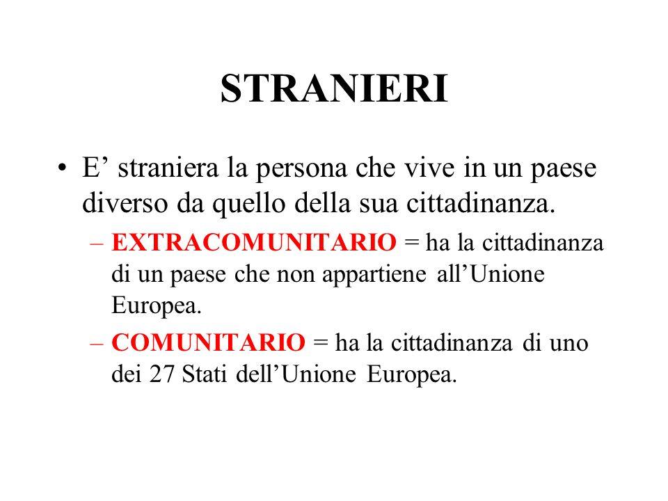 STRANIERI E straniera la persona che vive in un paese diverso da quello della sua cittadinanza.