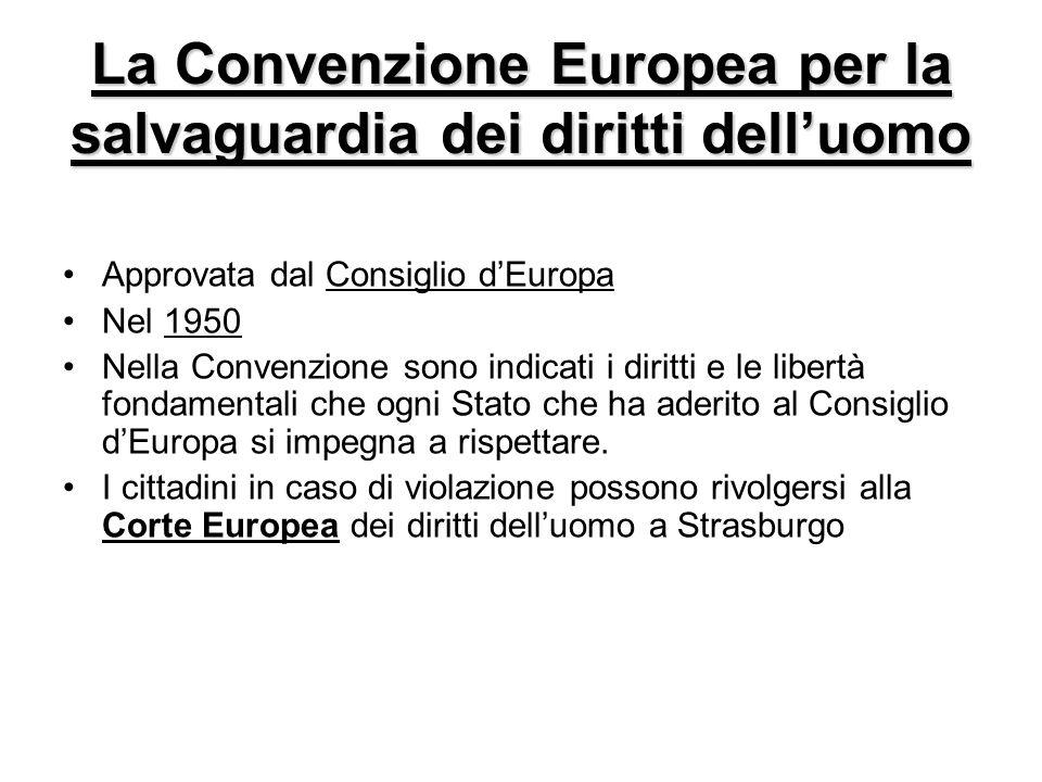 La Convenzione Europea per la salvaguardia dei diritti delluomo Approvata dal Consiglio dEuropa Nel 1950 Nella Convenzione sono indicati i diritti e l
