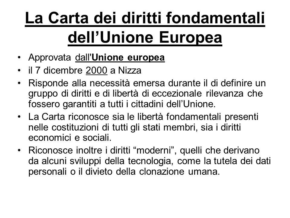La Carta dei diritti fondamentali dellUnione Europea Approvata dall'Unione europea il 7 dicembre 2000 a Nizza Risponde alla necessità emersa durante i