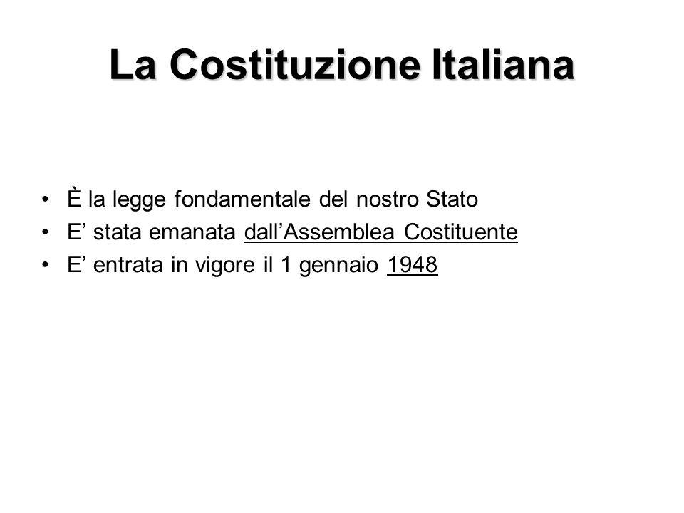 La Costituzione Italiana È la legge fondamentale del nostro Stato E stata emanata dallAssemblea Costituente E entrata in vigore il 1 gennaio 1948