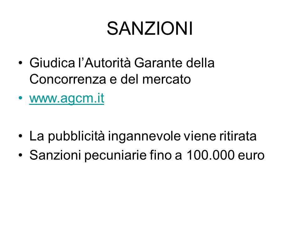 SANZIONI Giudica lAutorità Garante della Concorrenza e del mercato www.agcm.it La pubblicità ingannevole viene ritirata Sanzioni pecuniarie fino a 100