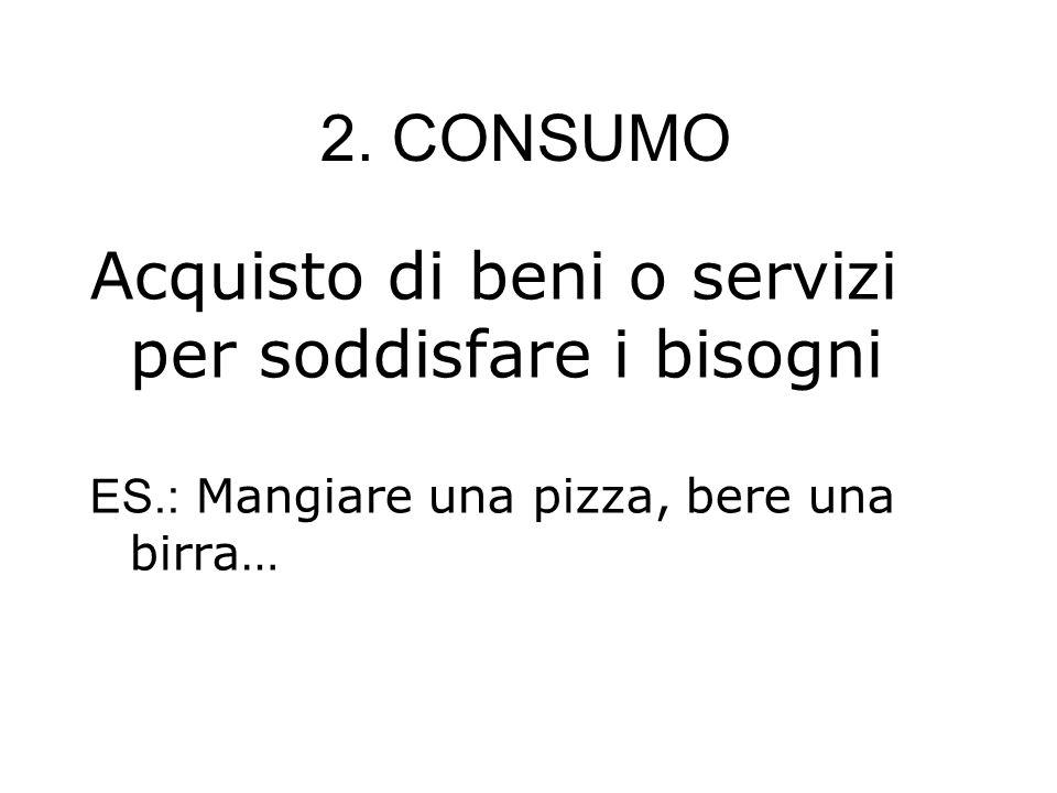 2. CONSUMO Acquisto di beni o servizi per soddisfare i bisogni ES.: Mangiare una pizza, bere una birra…