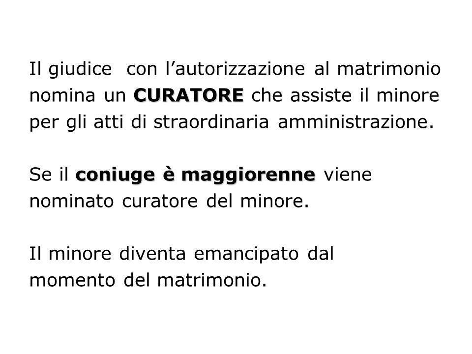Il giudice con lautorizzazione al matrimonio CURATORE nomina un CURATORE che assiste il minore per gli atti di straordinaria amministrazione. coniuge