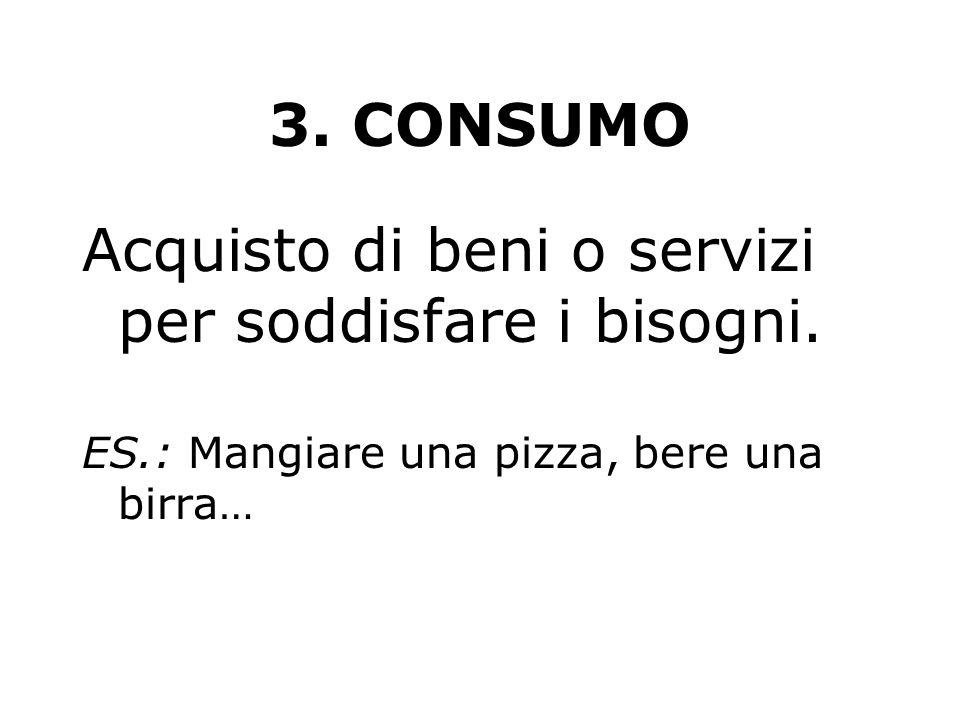 3. CONSUMO Acquisto di beni o servizi per soddisfare i bisogni. ES.: Mangiare una pizza, bere una birra…