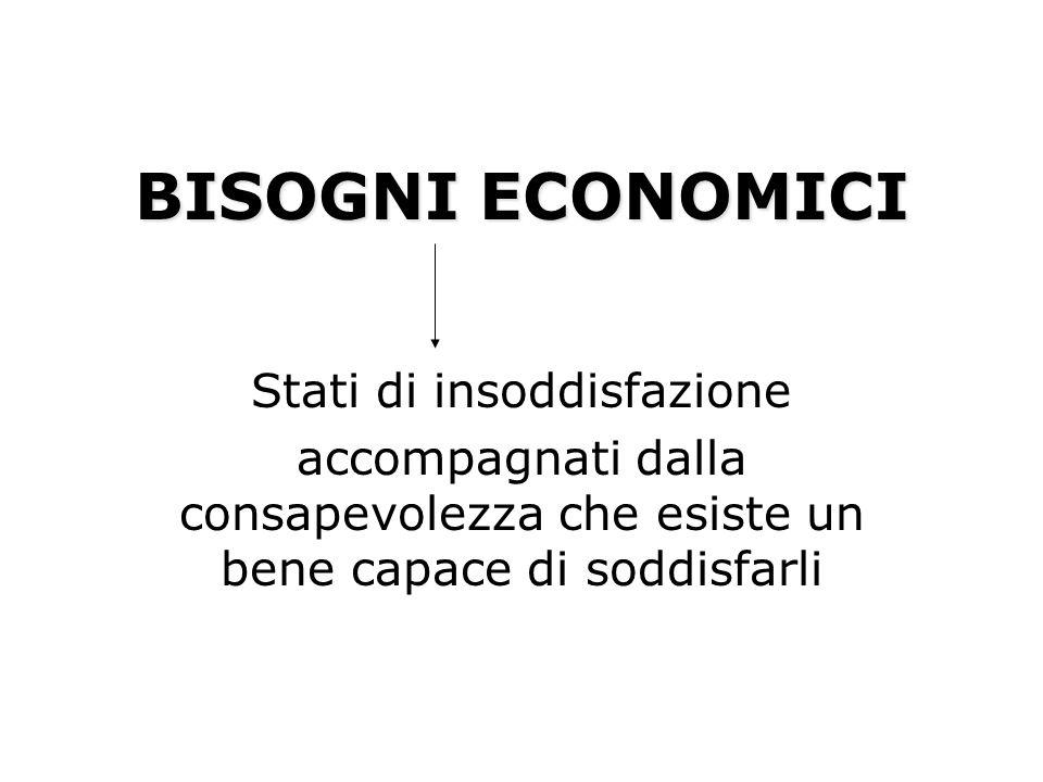 CARATTERISTICHE DEI BISOGNI ECONOMICI I bisogni economici SONO: ILLIMITATI: sono infiniti SOGGETTIVI: cambiano da persona a persona.