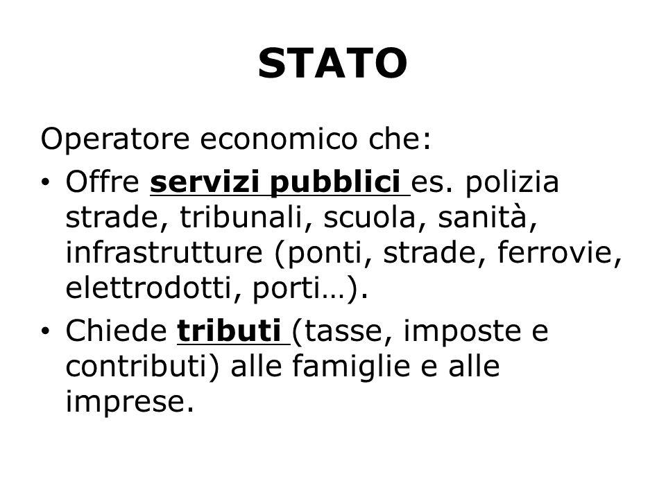 STATO Operatore economico che: Offre servizi pubblici es. polizia strade, tribunali, scuola, sanità, infrastrutture (ponti, strade, ferrovie, elettrod