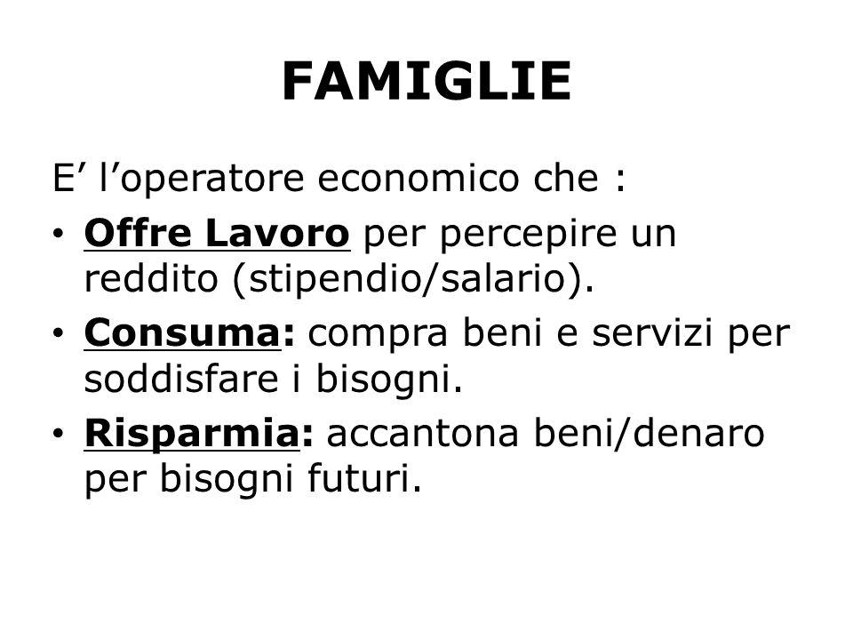 FAMIGLIE E loperatore economico che : Offre Lavoro per percepire un reddito (stipendio/salario). Consuma: compra beni e servizi per soddisfare i bisog